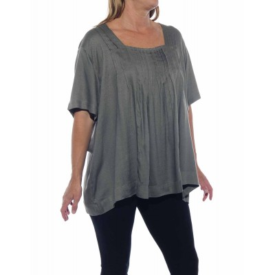 Solid Grey Jacquard Maxine Blouse