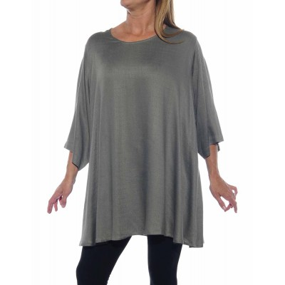 Solid Grey Jacquard Swing Top