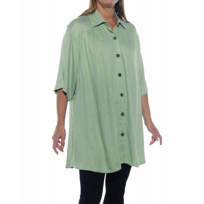 Solid Mint Jacquard New Tunic Top