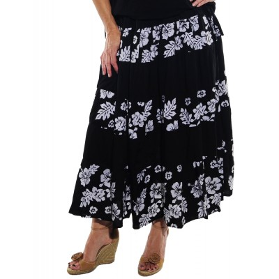 Peke Flower Black COMBO Tiered Skirt 0X