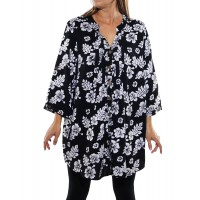 Peke Flower Black Katherine Blouse