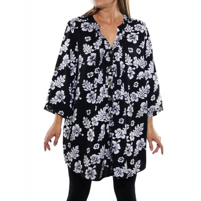 Peke Flower Black Katherine Blouse 1X
