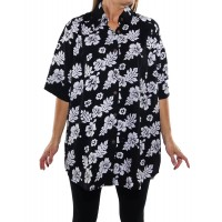 Peke Flower Black New Tunic Top