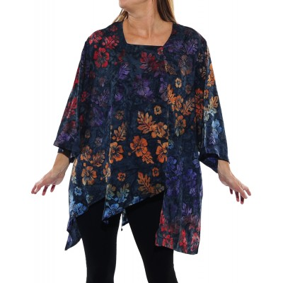 Peke Flower Midnight Carmel Top