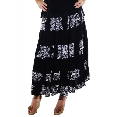Wild Flower Black COMBO Tiered Skirt