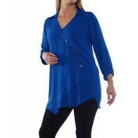 Soho Blouse Solid Royal Blue