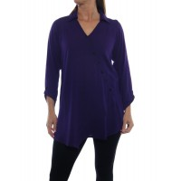 Solid Purple CRINKLE RAYON or FLAT RAYON Soho Blouse
