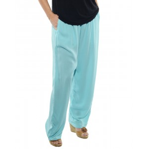 Solid Aqua Blue Crinkle Rayon Easy Pant