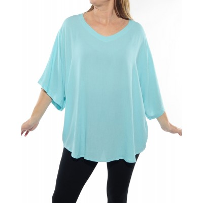 Solid Aqua Blue Crinkle Rayon Shell Top