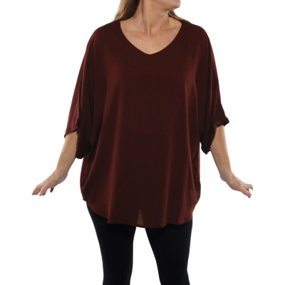 Solid Cinnamon Crinkle Rayon Shell Top