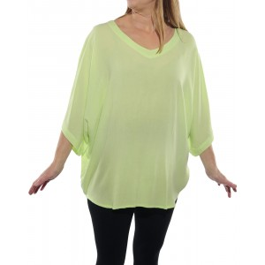 Solid Lime Crinkle Rayon Shell Top