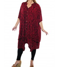 Sahara Red LONG Kirsten Blouse