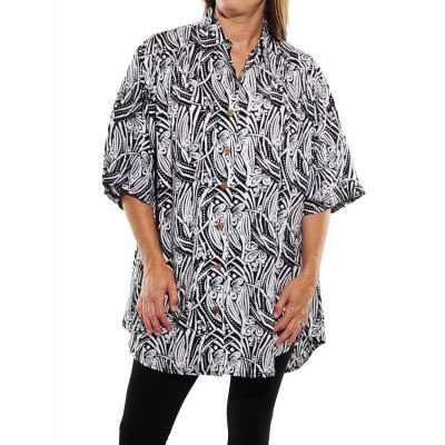 Black White New Tunic Top T1BW