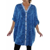 Jamaica Blue/Chicago Ice COMBO Katherine Blouse