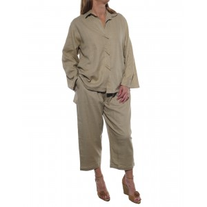 Linen/Rayon Light Khaki Top and Capri Set
