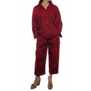 Linen/Rayon Tanager Red Top and Capri Set