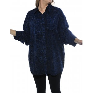 BlackBlue Swirls, Oahu COMBO Long Sleeve Big Shirt