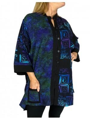 Women's Plus Size Blouse  - Aztec Blue Orinda