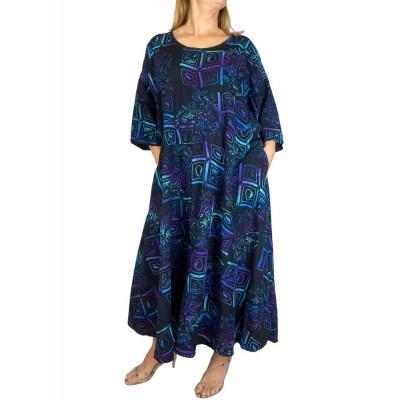 Women's Plus Size Dress - Aztec Blue Delia with Pockets