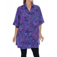 Batik Hibiscus Purple New Tunic Top