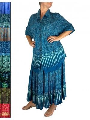 Plus Size Tunic-Skirt Set- Light Weight Rayon -Sea Breeze