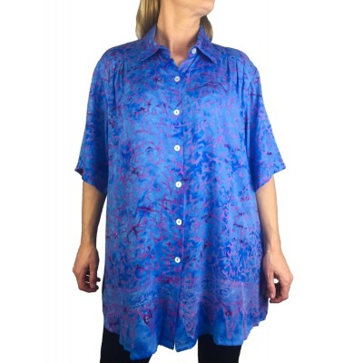 Women's Plus Size Tunic - Light Weight Rayon-Blue-Roots