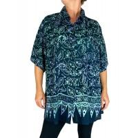 Women's Plus Size Tunic -Light Weight Rayon Emerald Leaf