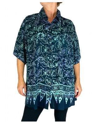 Batik Lighter-Weighted-Gauzy Emerald Leaf-New Tunic Top