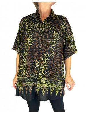 Batik Lighter-Weighted-Gauzy Royal Gold Tunic Top