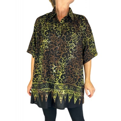 Batik Lighter-Weighted-Gauzy Royal Gold Tunic Top