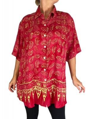Batik Lighter-Weighted-Gauzy-Scarlet-Fig-Tuinic-Top