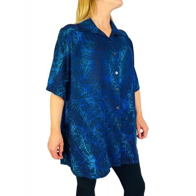 0X Black Blue Coral New Tunic Top (exchange)