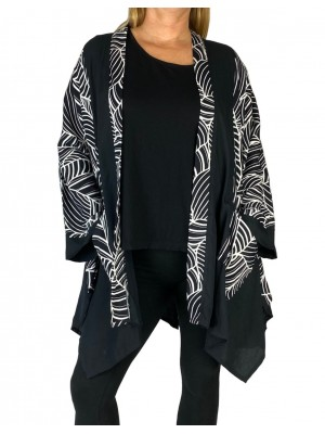 Black White Waves COMBO Broadway Jacket