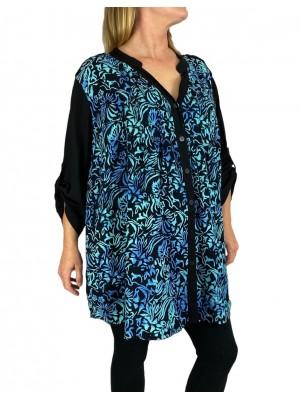 Women's Plus Size Blouse - Blue Wild Flower Katherine