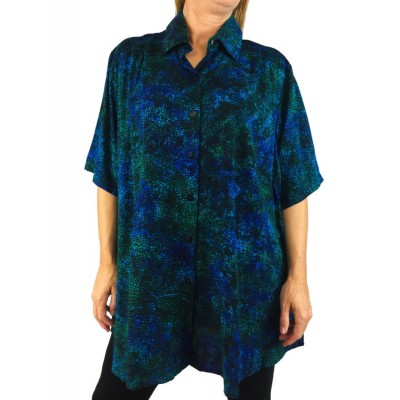 Women's Plus Size Tunic-Blue Mosaic