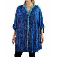 Lakeside/Water Leaves Aqua COMBO Katherine Blouse