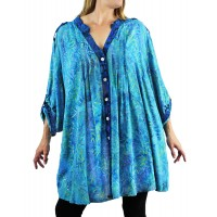 Water Leaves Aqua/Lakeside COMBO Katherine Blouse