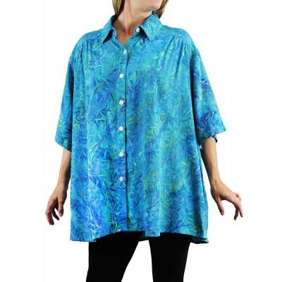 Women's Plus Size Tunic - Water Leaves Aqua