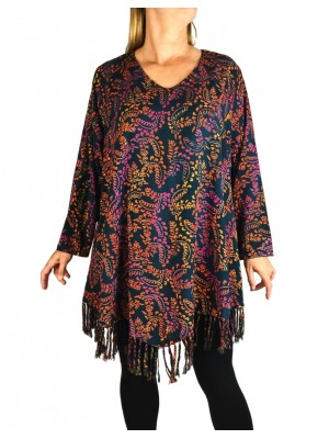 Desert Lights Santa Fe Fringe Swing Top Long or 3/4 Sleeve