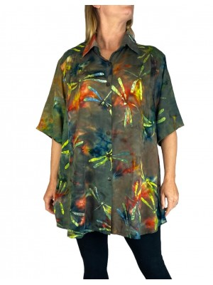 Women's Plus Size Tunic - Electric Dragonfly
