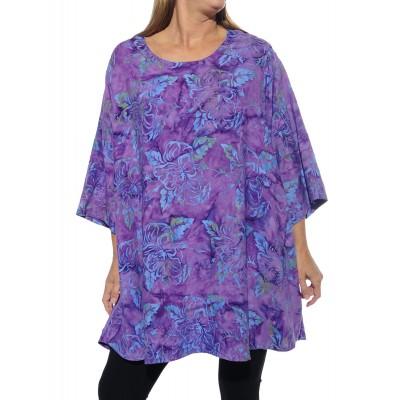 Women's Plus Size Swing -Batik Hibiscus