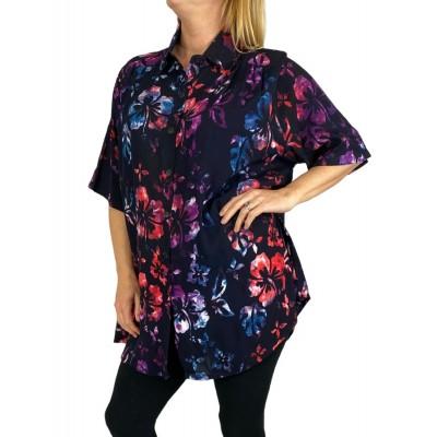 Women's Plus Size Tunic - Hibiscus Flower