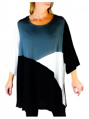 Crinkle Rayon or Rayon Knit Color Block Swing Top