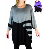 Rayon Knit Combo Swing Top