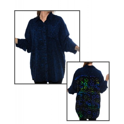 BlackBlue COMBO Long Sleeve Big Shirt