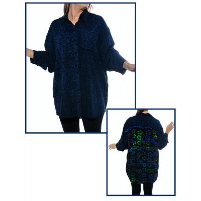 Women's Plus Size L/S Big Shirt - BlackBlue COMBO