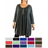 Solid CRINKLE RAYON Monica Pleated Blouse