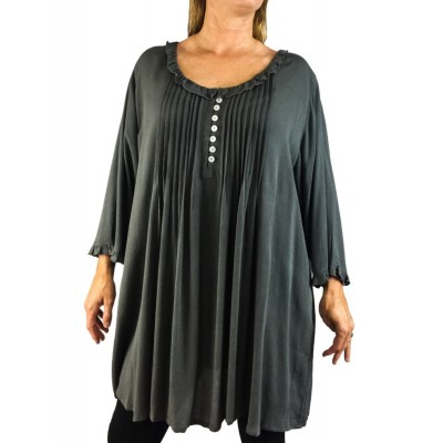 0X Solid GRAY CRINKLE RAYON Monica Pleated Blouse (exchange)