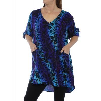 Women's Plus Size Blouse -Blue Lagoon Montclair