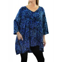 Deep Forest Blue Napa Blouse with Well Pockets